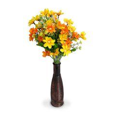 Arranjo de Flores Artificiais Margaridas na Garrafa de Vidro 25x5cm - Arranjos de Flores Artificiais