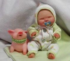 OOAK Artist Original Hand Sculpted BABY art doll by STORK BITES (Cindy Stanger)