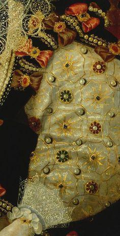 Detail from a portrait of Elizabeth 1