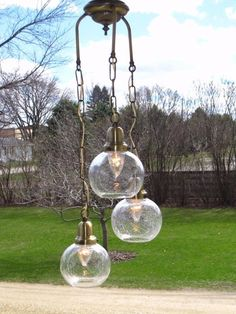 Vintage Clear Optic Bubble Glass Hanging Swag Lamp 3 Shade Light Sweeden