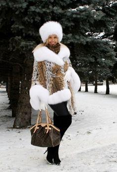 lynx & white fox fur pancho & hat