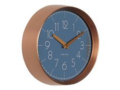 KARLSSON Convex Jeans Wall Clock with Copper Case, Blue