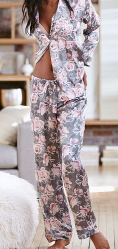 Pretty grey floral pajamas Clothing, Shoes & Jewelry - Women - Lingerie, Sleepwear & Loungewear - Click The Pin Pyjamas, Cozy Pajamas, Satin Pyjama Set, Satin Pajamas, Sleepwear & Loungewear, Nightwear, Lingerie Sleepwear, Pijamas Women, Pajamas For Teens