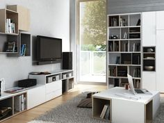 Systémový nábytek eshop Moravia Flat s. Modular Furniture, Unique Furniture, Small Rooms, Small Spaces, Console, Living Area, Living Room, Low Cabinet, Tv Cabinets