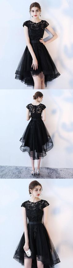 Black lace short prom dress, hight low evening dress, black lace homecoming dress