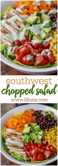 Southwest Salad With Cilantro Ranch Dressing Lil' Luna Southwest Salad Recipe, Southwest Chopped Salads, Southwestern Salad, Mexican Chopped Salad, Fruit Salad Recipes, Chicken Salad Recipes, Green Chicken Salad Recipe, Salad Toppings, Salad Chicken