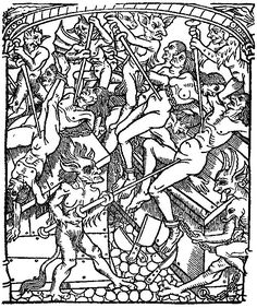 Punishment for the Seven Deadly Sins: the angry are dismembered alive. From Le grant kalendrier des Bergiers, printed by Nicolas le Rouge, Troyes, 1496.