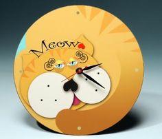 Meow! Gold Cat Clock