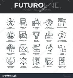 Modern thin line icons set of project planning and business workflow development. Premium quality outline symbol collection. Simple mono linear pictogram pack. Stroke vector logo concept, web graphics