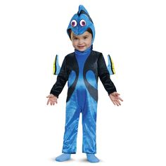Dory infant costume. Discover an ocean of fun in this super soft and comfy Dory infant Halloween costume. The jumpsuit features soft velvety fabric with fin detail on the arms, a detachable tail and a fabric character headpiece. Pair with a Finding Nemo costume on a sibling for adorable trick or treat fun! #DisneyHalloween