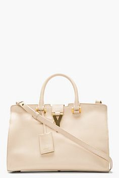 Saint Laurent Beige Leather Ligne Y Small Cabas Tote for women | SSENSE