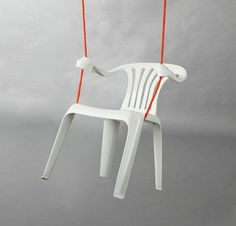 The ubiquitous white plastic garden chair springs into a variety of human poses in this fun series by Bert Loeschner. Ordinary monobloc polypropylene chairs are transformed
