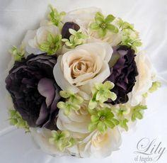 eggplant Wedding Flowers   -Wedding-Bridal-Bouquet-Set-Decoration-Package-Flower-PLUM-EGGPLANT ...