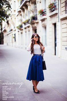 Blue Skirt, Polka Dot Top