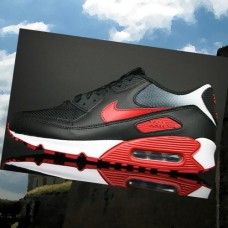 huge discount 7f952 bd34d IUAD395 Herre Nike Air Max 90 running Sko Sort Rød Hvid  gTEpO