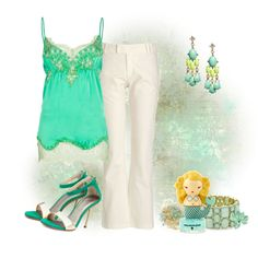 A fashion look from April 2012 featuring cotton pants, silk cami and zipper shoes. Green Lace, Complete Outfits, Cami Tops, Dress Me Up, Breathe, Diva, Candy, Style Inspiration, Nails