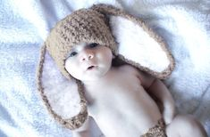 0 to 3m Newborn Baby Easter Bunny Hat Brown White by BabaMoon