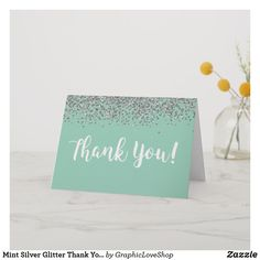 Shop Mint Silver Glitter Thank You Card created by GraphicLoveShop. Baby Shower Thank You Cards, Happy Dance, Thank You Notes, Silver Glitter, Note Cards, Bridal Shower, Place Card Holders, Mint, Couple Shower