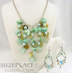 Mother of Pearl Abalone Multi Pendant Necklace with Matching Beaded Earrings SuzePlace.com