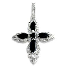 Tressa Sterling Silver Cubic Zirconia Black Onyx Cross Necklace | Medieval Rings Online |