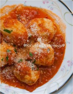 Ricotta Dumplings with Marinara Sauce | ahealthylifeforme.com 1 16 ounce container of Ricotta cheese  1 large egg, beaten  1 large egg yolk, beaten  ½ teaspoon black pepper  ½ teaspoon kosher salt, + more for water  ½ cup finely grated Parmesan cheese, + more for topping  ½ cup all-purpose flour, + more for hands and dusting baking sheet  1 bottle Vodka Marinara Sauce (I used San Marzano)  1 tablespoon chopped fresh parsley