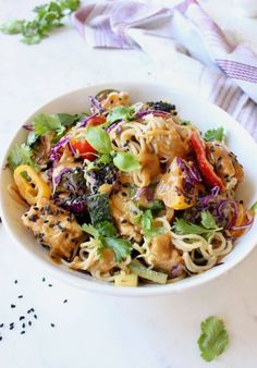 Easy vegan peanut noodles recipe with vegetables, ramen, air fried tofu and sesame seeds in a vegan peanut sauce Loaded with lime, cilantro and fresh basil. Tofu Recipes, Noodle Recipes, Easy Healthy Recipes, Vegetable Recipes, Vegetarian Recipes, Diet Recipes, Easy Meals, Vegan Peanut Sauce, Peanut Butter Sauce