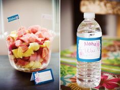tropical hawaiian luau theme food buffet card, flagl and water bottle labels by cherish paperie
