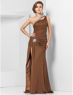 Sheath   Column One Shoulder Floor Length Chiffon Evening Dress with Beading  by TS Couture® e083d68c294d