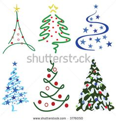 stock vector : Christmas Tree Design Set – Six tree designs in set