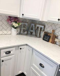 Kitchen Remodel, Modern Farmhouse, Farmhouse Style, Farmhouse Decor, White Kitchen, Subway Tile, Herringbone Subway Tile, Hobby Lobby Decor, Kitchen Reno, See Instagram photos and videos from Robin Norton (@rocknrob)