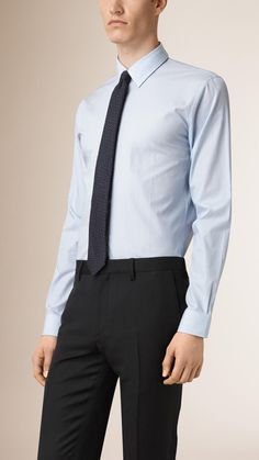 Slim Fit Pinstripe Cotton Shirt City Blue | Burberry