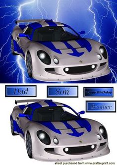 SILVER BLUE RACING CAR ON BLUE LIGHTNING on Craftsuprint - Add To Basket!