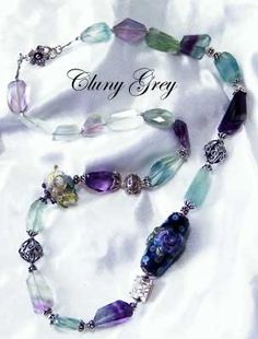 fluorite jewelry - necklace with rainbow fluorite http://www.clunygreyjewelry.com/Fluorite-jewelry.html Cluny Grey Jewelry
