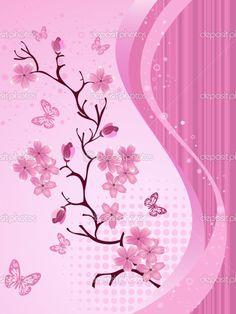 Japanese Cherry Blossom   Japanese cherry blossom — Stock Vector © Olga Glushkova #5905794