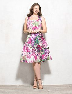 Plus Size Floral Fit-and-Flare Dress