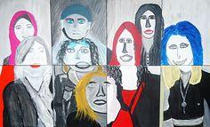 Workshop samengesteld schilderij van personeel, 8 collega's, 8 schilderijtjes, samen 1 groot schilderij.