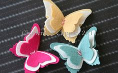 Butterfly Hair Clip in Wool Felt Baby Hair by ChatterboxClippies, $7.00
