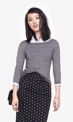 Marled Fitted Bateau Neck Sweater | Express. Purchased.