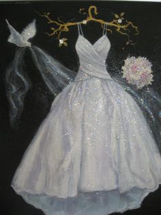 I love painting wedding dresses!. While you put the dress away, this can hang on your wall and you can enjoy it as a lovely piece of art. It will surely become an heirloom for your children someday...