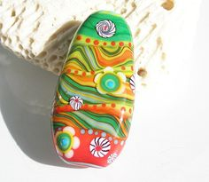 Katie Mankau Lampwork Glass Bead Focal SRA (1) -Summer WigWags-