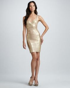 Crisscross Metallic Bandage Dress by Herve Leger at Neiman Marcus.