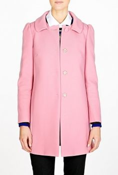 Pink A-line Coat by Red Valentino   TO WINTERIZE PASTELS, PAIR THIS PINK COAT WITH CAMEL OR BLACK