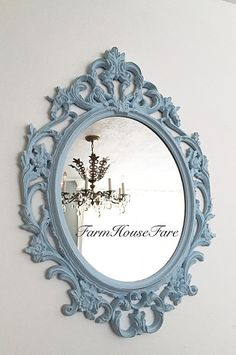 Hey, I found this really awesome Etsy listing at https://www.etsy.com/listing/240205263/baby-blue-painted-nursery-mirror-large