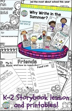 Writing For Real Purposes - Fun Summer Lists! Reading Resources, Reading Activities, Classroom Activities, Kindergarten Lesson Plans, Teaching Kindergarten, Teaching Ideas, Kindergarten Themes, Writing Lessons, Kids Writing