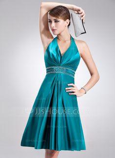 A-Line/Princess Halter Knee-Length Charmeuse Holiday Dress With Beading (020020920)