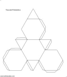 The truncated tetrahedron is one of the 13 Archimedean solids. Nets (templates) and pictures of the paper truncated tetrahedron. Origami And Kirigami, Origami Paper Art, 3d Paper, Paper Toys, Paper Crafts, Origami Modular, Origami Folding, Paper Folding, Carton Diy