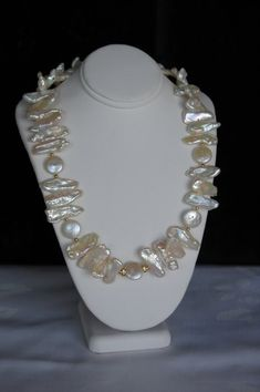 Beautiful Biwa freshwater pearls necklace combines with coin