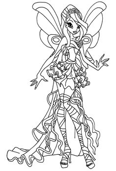 A Coloring Page Of Bloom In Her Harmonix Transformation From Winx Club