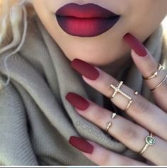 40 sensational designs for coffin nails for this premium feeling – nail design & nail art - Nailart Red Ombre Lips, Red Lips, Black Ombre, Black Lips, Lip Art, Nailart, Beautiful Lips, Beautiful Images, Gorgeous Makeup