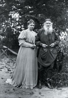 Russian writer Lev Tolstoy with his wife